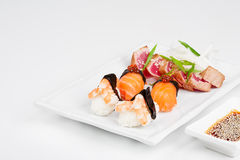 The sashimi plate with shrimps, salmon and tuna. The different sashimi plate with shrimps, salmon and tuna Stock Image