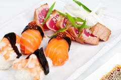 The sashimi plate with shrimps, salmon and tuna Stock Photo