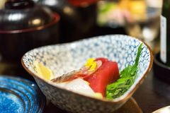 Sashimi - prato japonês, Tóquio, Japão Close-up imagens de stock royalty free