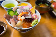 Sashimi raw fish seafood on rice Stock Photo