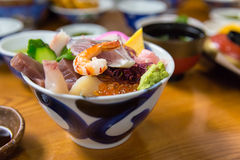 Sashimi raw fish seafood on rice Royalty Free Stock Photo
