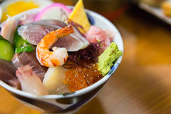 Sashimi raw fish seafood on rice Stock Photos