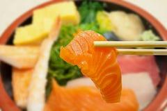 Sashimi on the rice in bowl Royalty Free Stock Photo