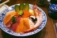 Sashimi rice. In the restaurant stock photography