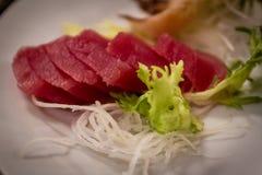 Sashimi rosso del tonno al ristorante giapponese Fotografia Stock