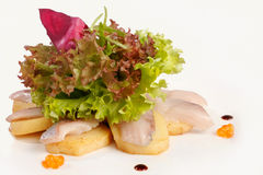 Sashimi with salad. And caviar Stock Photos