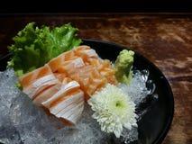 Sashimi salmon belly on ice. Royalty Free Stock Photo