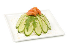Sashimi salmon cucumber arugula Stock Photo