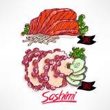 Sashimi. salmon and octopus. Stock Photo