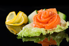 Sashimi with salmon over  black background. Sashimi with salmon on black background Stock Photography
