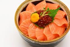 Sashimi, salmon and salmon roe in the bowl Stock Photo