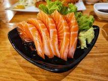 Sashimi salmon set or raw fish. Traditional Japanese cuisine royalty free stock image