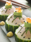 Sashimi Of Sea bass with Avocado and Salmon Roe Royalty Free Stock Images