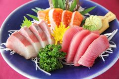 Sashimi set on a bowl. In close up stock photos