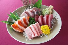 Sashimi set on a plate. In close up royalty free stock image