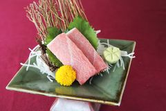 Sashimi set on a bowl. In close up stock image