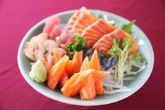 Sashimi set on a bowl. In close up stock photography