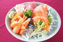Sashimi set on a bowl. In close up royalty free stock image