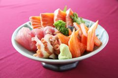 Sashimi set on a bowl. In close up royalty free stock images