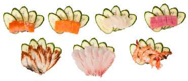 Sashimi set on cucumber isolated Royalty Free Stock Photo