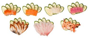 Sashimi set on cucumber isolated Royalty Free Stock Photo
