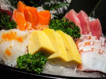 Sashimi Set. The first course in a formal Japanese meal is Sashimi Set Royalty Free Stock Photos