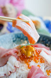 Sashimi set of fresh fish and seafood Stock Photo