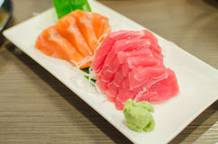 Sashimi set of fresh salmon and tuna raw fish Stock Image