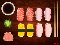 Sashimi set ginger tuna soy sause chopsticks wood Stock Photos