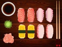 Sashimi set ginger tuna soy sause chopsticks wood Stock Photos