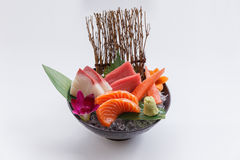 Sashimi Set Include Raw Salmon, Raw Hamachi Japanese Amberjack, Raw Maguro Bluefin Tuna and Kani Crab Stick. Stock Image