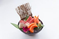 Sashimi Set Include Raw Salmon, Raw Hamachi Japanese Amberjack, Raw Maguro Bluefin Tuna and Kani Crab Stick. Royalty Free Stock Photography