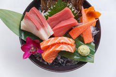 Sashimi Set Include Raw Salmon, Raw Hamachi Japanese Amberjack, Raw Maguro Bluefin Tuna and Kani Crab Stick. Stock Photos