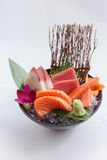 Sashimi Set Include Raw Salmon, Raw Hamachi Japanese Amberjack, Raw Maguro Bluefin Tuna and Kani Crab Stick. Royalty Free Stock Image