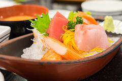 Sashimi set in the japanese restaurant Royalty Free Stock Photography