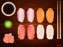 Sashimi set soy sause ginger chopsticks wood Royalty Free Stock Photos