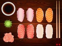 Sashimi set soy sause ginger chopsticks wood Royalty Free Stock Photos