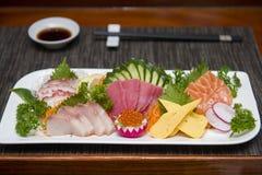 Sashimi sets japanese food in restaurant Stock Photos