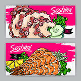 Sashimi with shrimp and octopus Royalty Free Stock Image