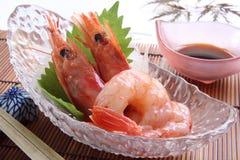 Sashimi of shrimp with soy sauce Stock Photos