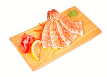 Sashimi with shrimp isolated on white Royalty Free Stock Photography