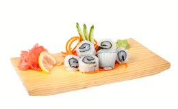 Sashimi with squid isolated on white Stock Image