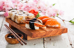 Sashimi and sushi rolls Royalty Free Stock Image