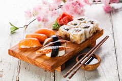Sashimi and sushi rolls Royalty Free Stock Photos