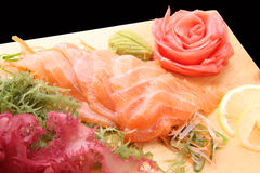 Sashimi syake on a board Royalty Free Stock Image