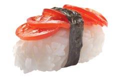 Sashimi tradicional del sushi en el fondo blanco Fotos de archivo libres de regalías