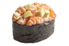 Sashimi tradicional del sushi en el fondo blanco Foto de archivo