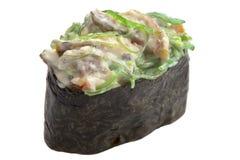 Sashimi tradicional del sushi en el fondo blanco Imagen de archivo libre de regalías