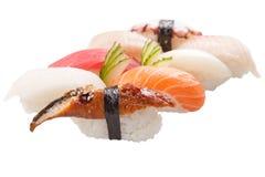 Sashimi tradicional do sushi no fundo branco Imagem de Stock Royalty Free