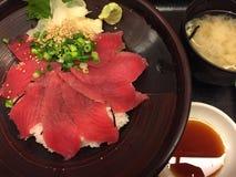 Sashimi Tuna. Japanese food, fresh tuna, rice and miso Royalty Free Stock Photography